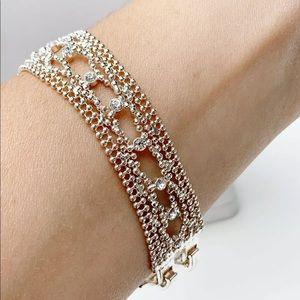 Designer Givenchy Mesh Silver Rhinestone Bracelet